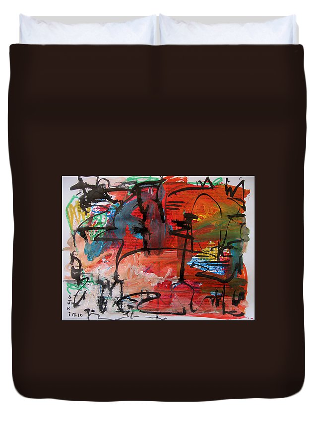 Red Paintings Duvet Cover featuring the painting Landscape Sketch18 by Seon-Jeong Kim