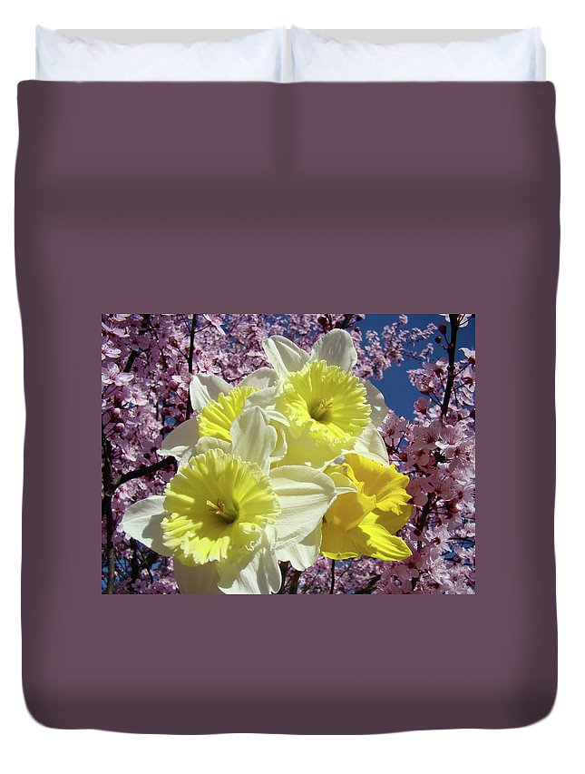Spring Duvet Cover featuring the photograph Landscape Spring Foral Yellow Daffodil Flowes Pink Blossoms by Baslee Troutman