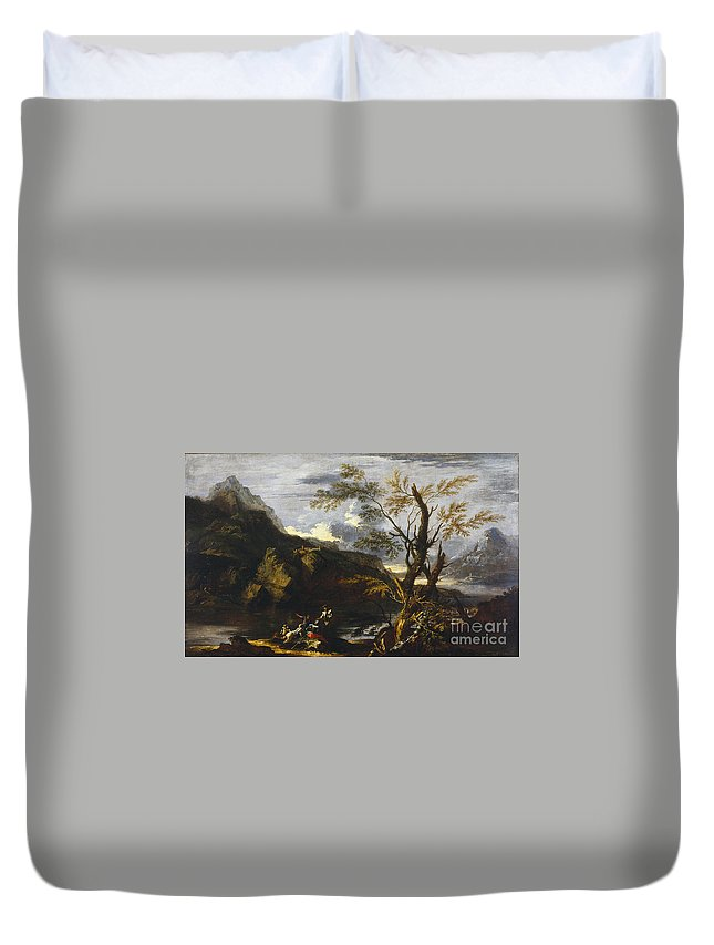 Landscape With A Lake Duvet Cover featuring the painting Landscape With A Lake by Celestial Images
