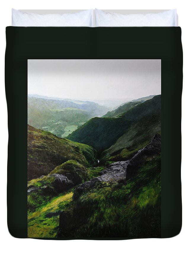 Landscape Duvet Cover featuring the painting View Towards The Coast by Harry Robertson
