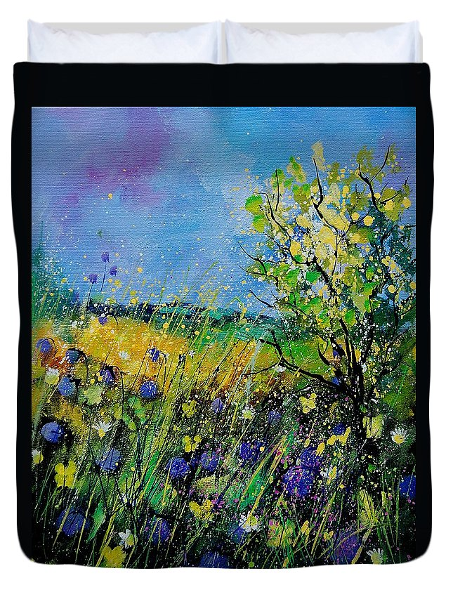 Flowers Duvet Cover featuring the painting Landscape With Cornflowers 459060 by Pol Ledent