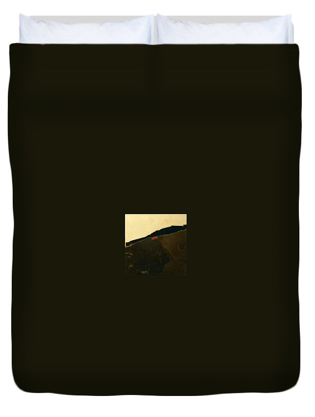 Landscape With Gate Duvet Cover featuring the painting Landscape With Gate by Liliane DUMONT-BUIJS