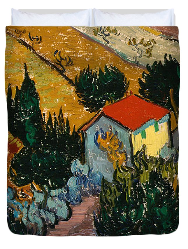 Van Gogh Duvet Cover featuring the painting Landscape With House And Ploughman by Van Gogh