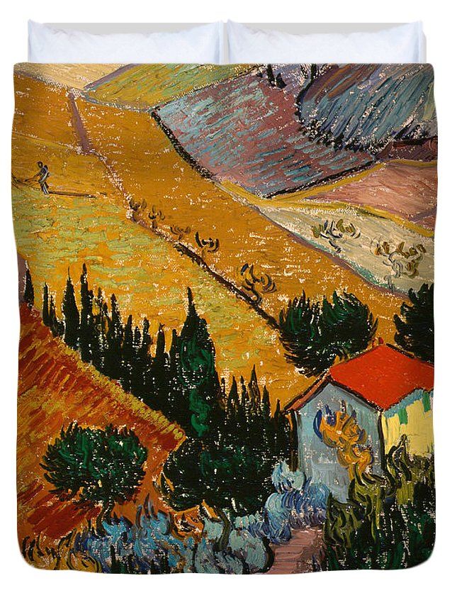 Landscape Duvet Cover featuring the painting Landscape With House And Ploughman by Vincent Van Gogh