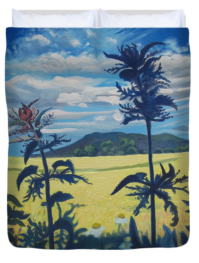 Atmospheric Landscape Duvet Cover featuring the painting Landscape With Nettles by Wojciech Pater