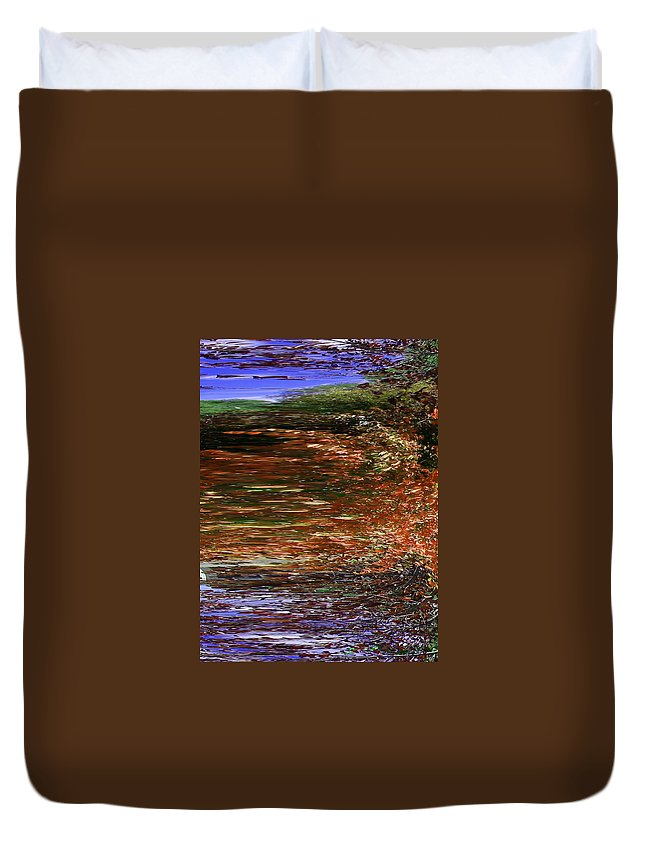 Abstract Duvet Cover featuring the digital art Landscape With Sky Reflected by Lenore Senior