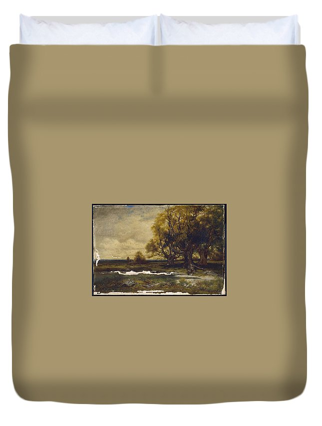 Landscape With Tree Mid-19th To Early 20th Century Alexander Lawrie (american Duvet Cover featuring the painting Landscape With Tree by MotionAge Designs