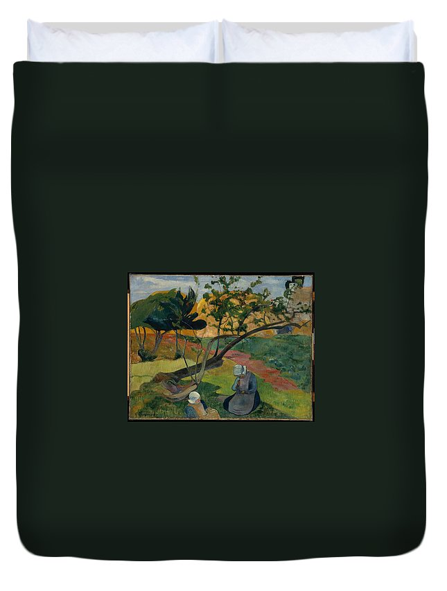 Landscape With Two Breton Women 1889 Paul Gauguin (french Duvet Cover featuring the painting Landscape With Two Breton Women by MotionAge Designs