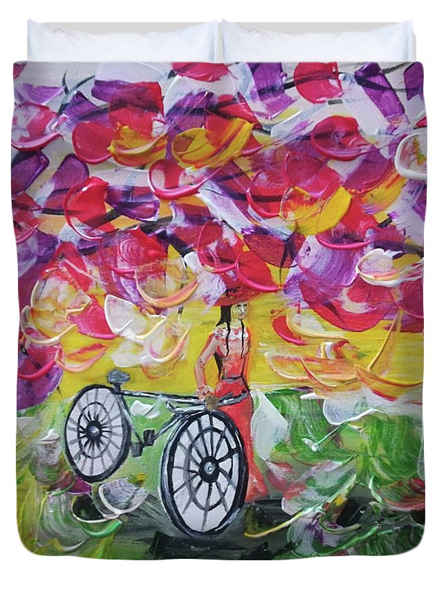 Landscape Duvet Cover featuring the painting Landscape Women Bike by Maria Rom