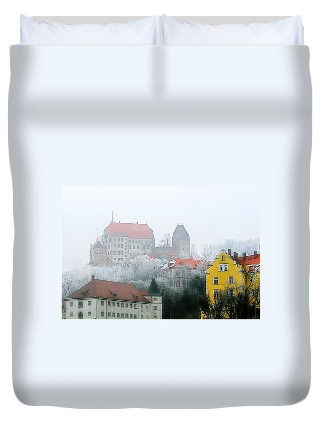 City Duvet Cover featuring the photograph Landshut Bavaria On A Foggy Day by Christine Till