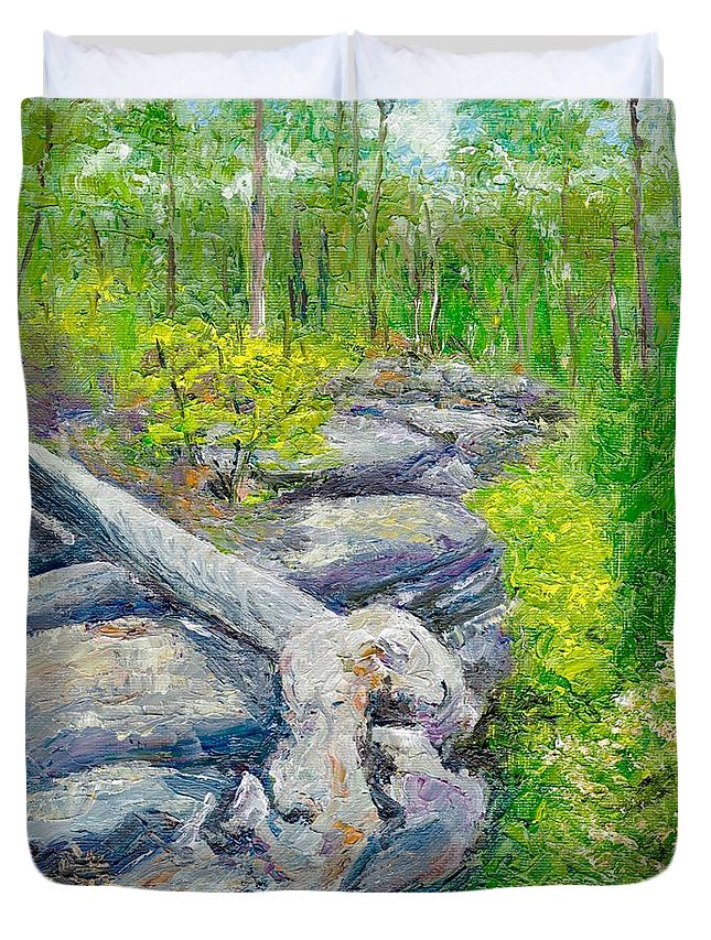 Tree Stump Duvet Cover featuring the painting Lane Cove Burnt Stump by Dai Wynn