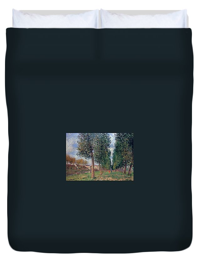 Lane Of Poplars At Moret Duvet Cover featuring the painting Lane Of Poplars At Moret by MotionAge Designs