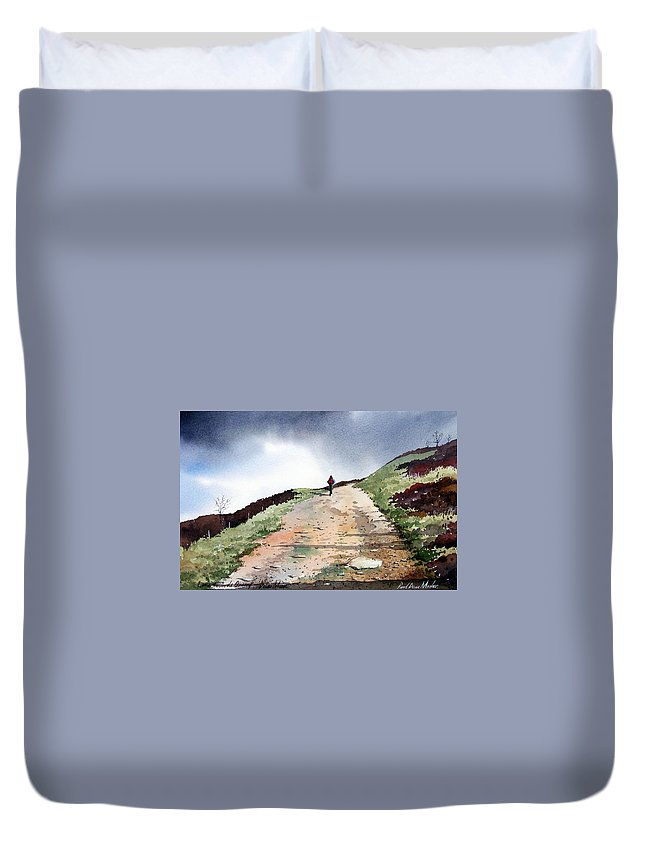 Landscape Duvet Cover featuring the painting Lane To Quarry Pole Moor by Paul Dene Marlor