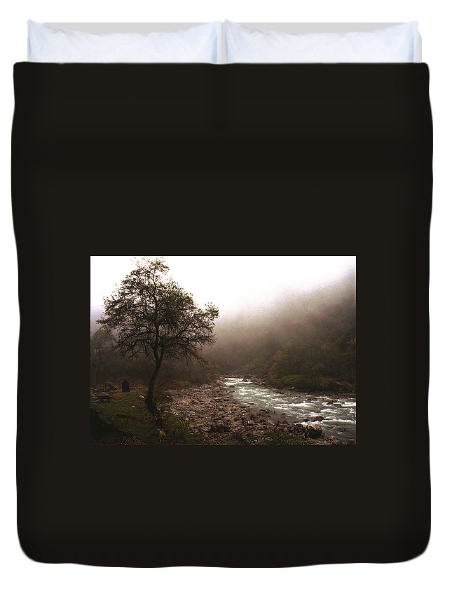 Tree Duvet Cover featuring the photograph Langtang Morning by Patrick Klauss