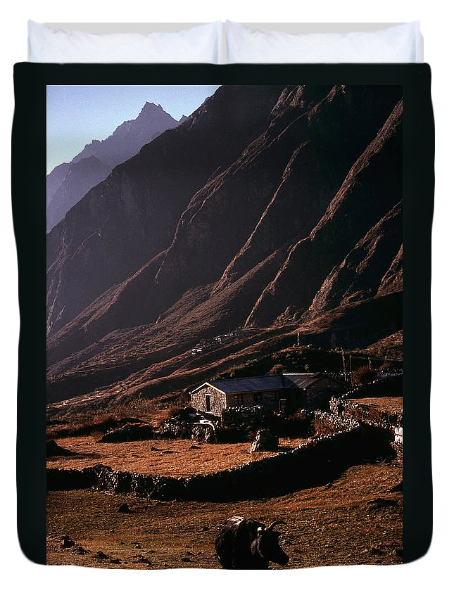 Langtang Duvet Cover featuring the photograph Langtang Village by Patrick Klauss