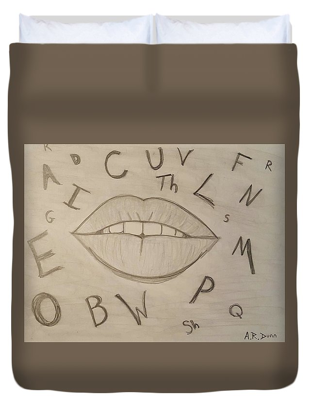 Drawing Duvet Cover featuring the drawing Language Of Speech by Ashley Dunn