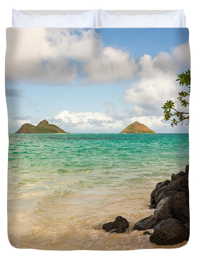 Lanikai Kailua Oahu Hawaii Beach Park Seascape Duvet Cover featuring the photograph Lanikai Beach 1 - Oahu Hawaii by Brian Harig