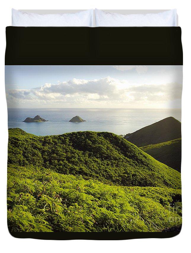 Blue Duvet Cover featuring the photograph Lanikai Hills by Dana Edmunds - Printscapes