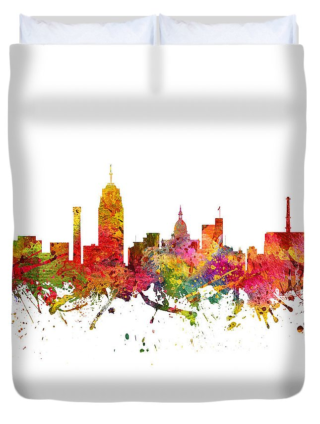 Lansing Duvet Cover featuring the digital art Lansing Cityscape 08 by Aged Pixel