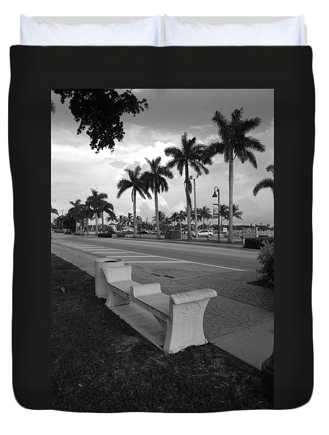 Black And White Duvet Cover featuring the photograph Lantana by Rob Hans