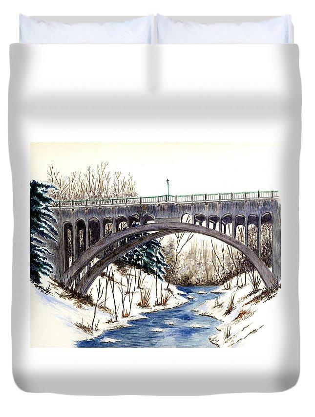 Bridge Duvet Cover featuring the painting Lanterman Falls Bridge - Mill Creek Park by Michael Vigliotti