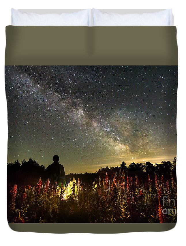 Lupines Duvet Cover featuring the photograph Lantern In The Lupines by Andrew Quinn
