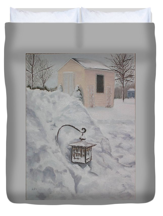 Snow Duvet Cover featuring the painting Lantern In The Snow by Lea Novak