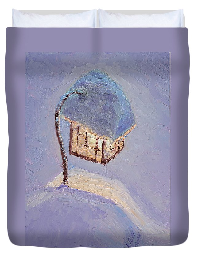 Lantern Duvet Cover featuring the painting Lantern Light On A Snowy Evening by Lea Novak