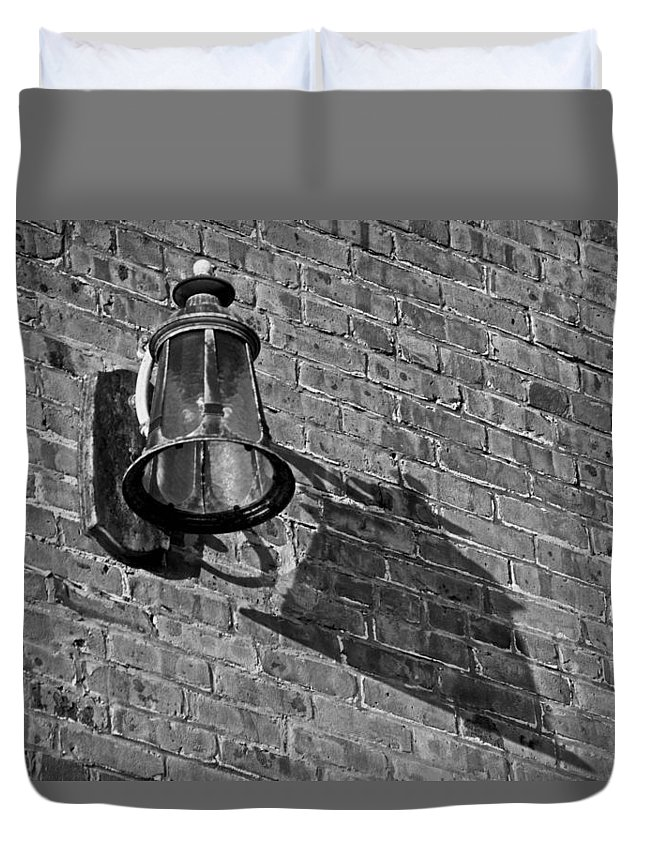 Bricks Duvet Cover featuring the photograph Lantern Shadow by Dale Chapel