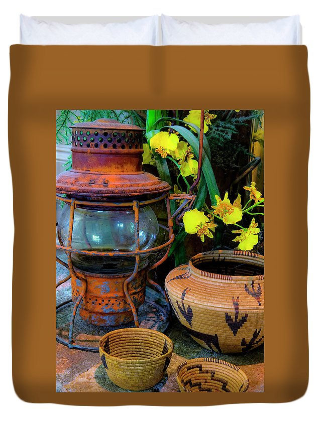 Lantern Duvet Cover featuring the photograph Lantern With Baskets by Stephen Anderson