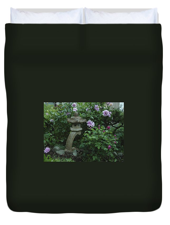 Purple Duvet Cover featuring the photograph Lantern With Dahlia by Shirley Heyn