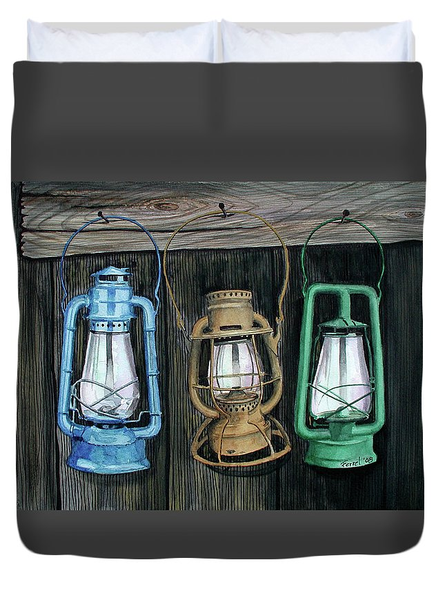 Lanterns Duvet Cover featuring the painting Lanterns by Ferrel Cordle