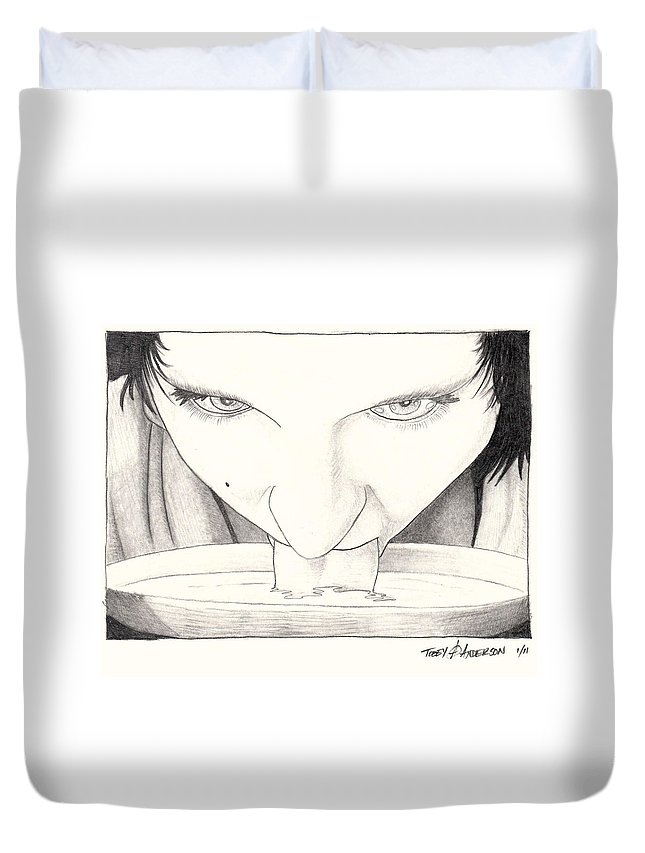 Woman Duvet Cover featuring the drawing lap by Tobey Anderson