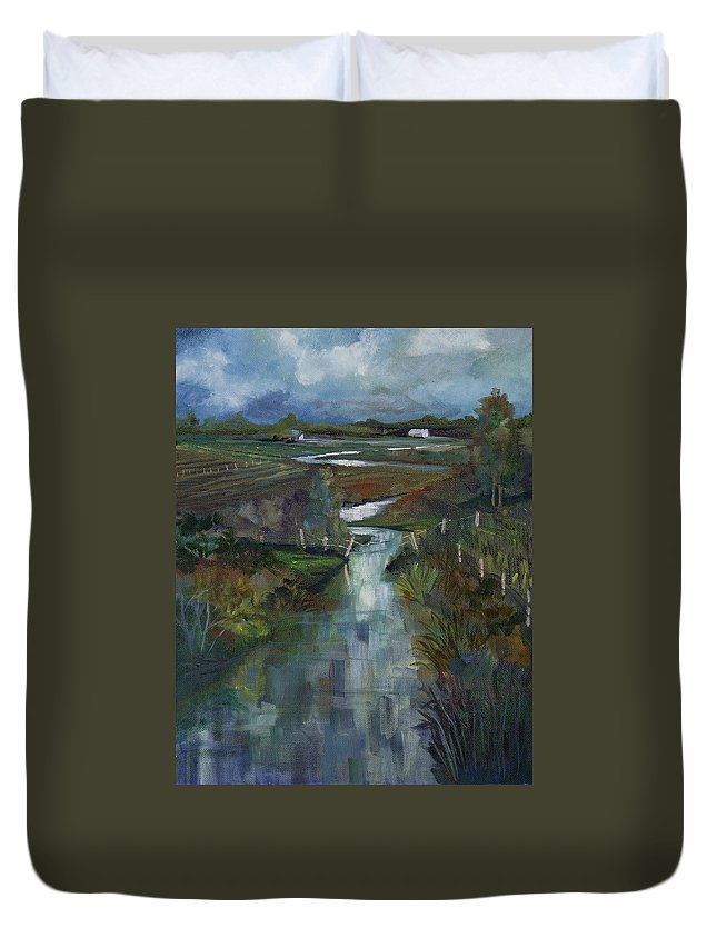 River Duvet Cover featuring the painting Laramie River Valley by Heather Coen