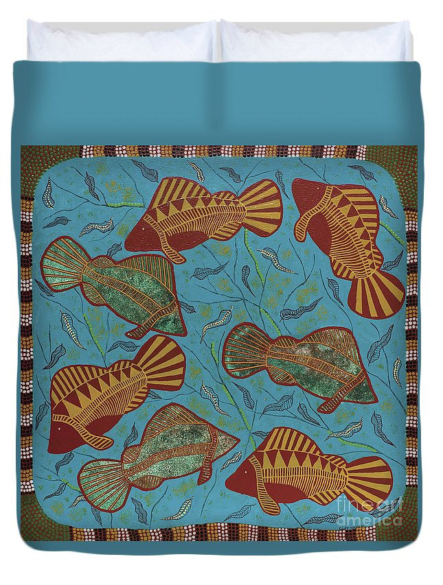 Fish Duvet Cover featuring the painting Large Barramundi Swimming by Clifford Madsen