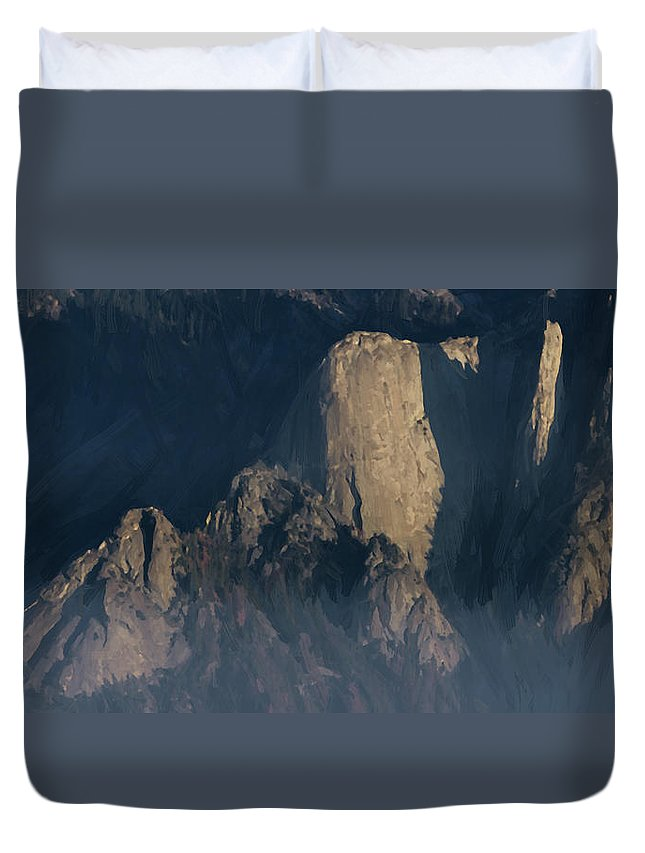 Afternoon Duvet Cover featuring the photograph Large Granite Mountains In California by Charles Wollertz