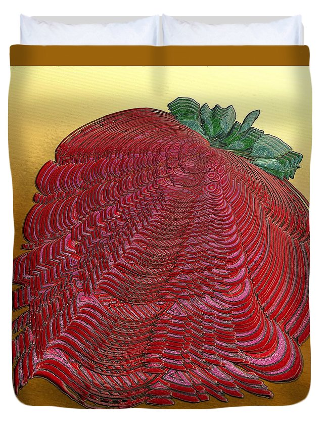 Surrealism Duvet Cover featuring the digital art Large Strawberry Scallop by Mark Sellers