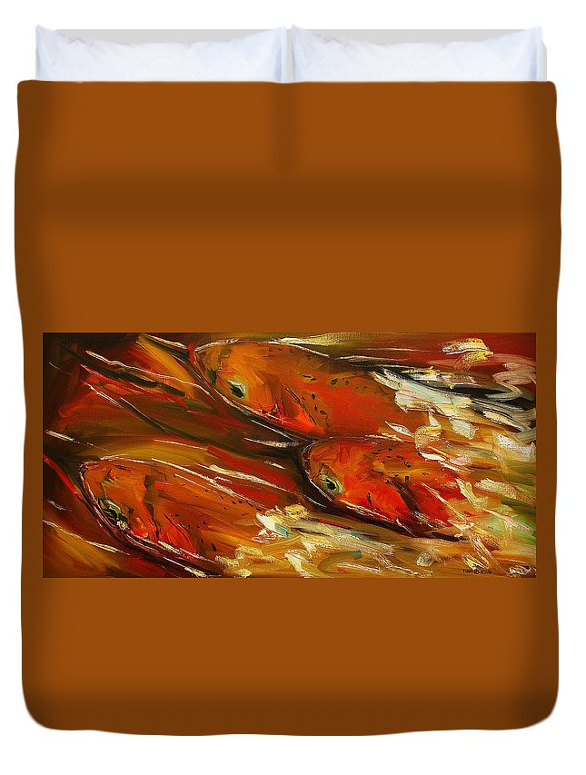 Trout Duvet Cover featuring the painting Large Trout Stream Fly Fish by Diane Whitehead