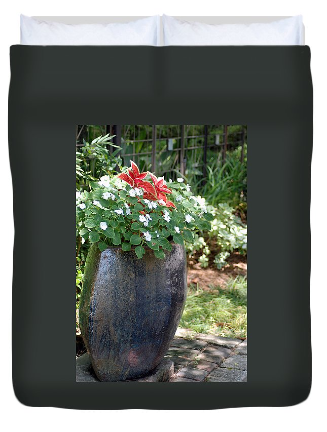 Flowers Duvet Cover featuring the photograph Large Vase by Donna Bentley