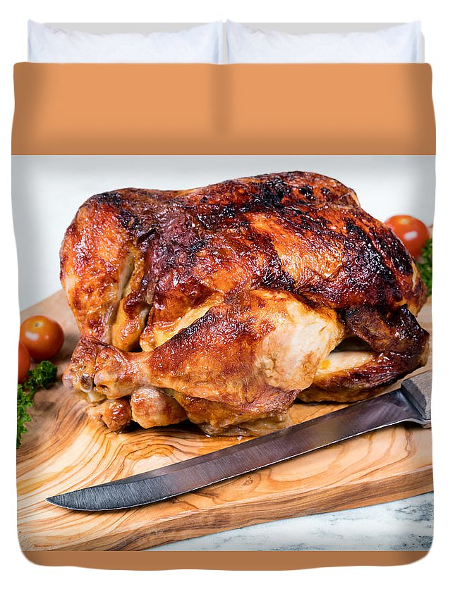 Chicken Duvet Cover featuring the photograph Large Whole Chicken Ready To Be Carved On Wooden Server Board by Thomas Baker