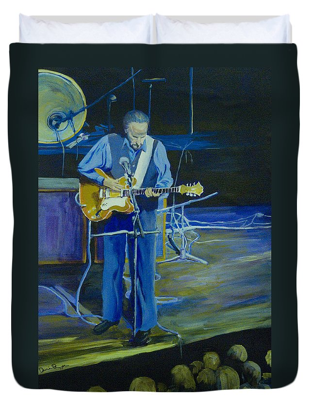 Portrait Duvet Cover featuring the painting Larry Parypa From The Sonics by Davina Parypa