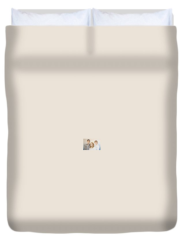 Portrait Duvet Cover featuring the drawing Lars Niels And Ilse by Rob De Vries