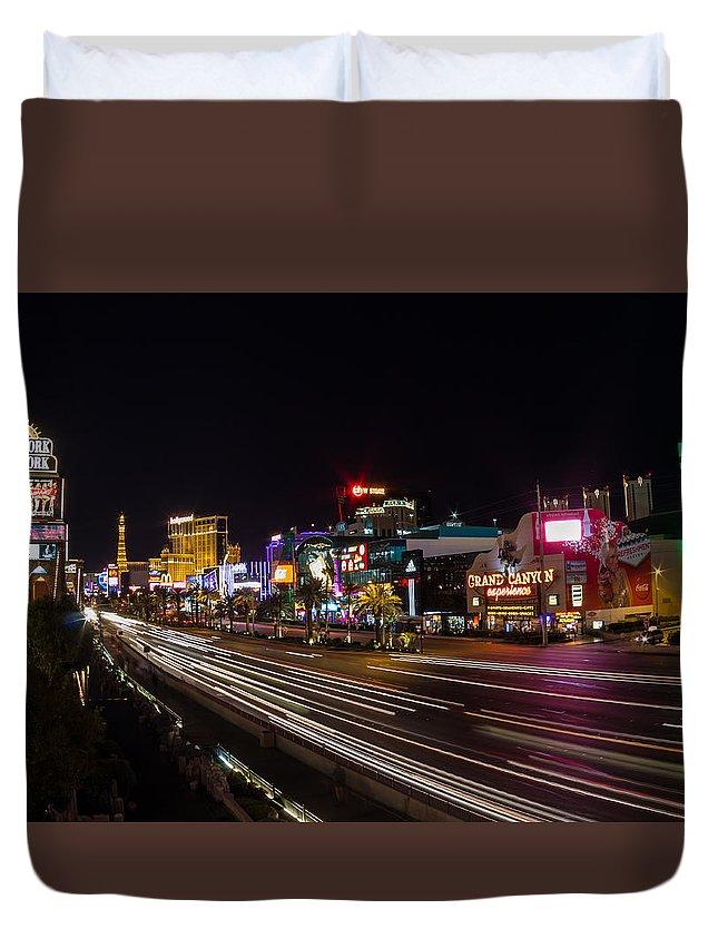 Eifel Tower Duvet Cover featuring the photograph Las Vegas Strip At Night by Vadim Nefedov