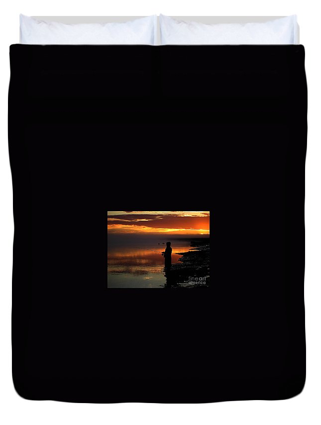 Sunset Duvet Cover featuring the photograph Last Cast by Rick Monyahan