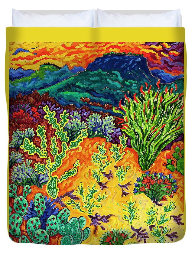 Arizona Duvet Cover featuring the painting Last Dance Of The Day by Cathy Carey