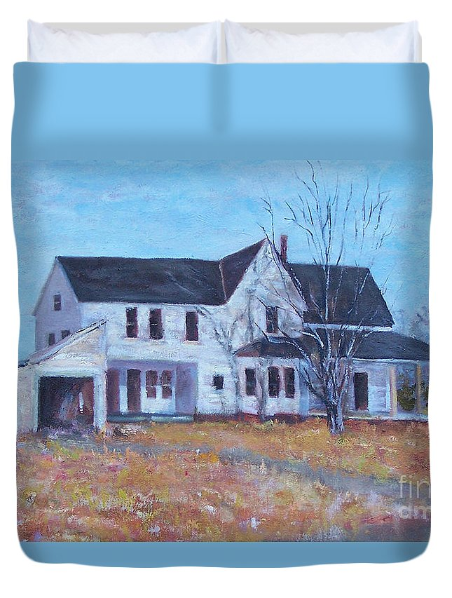 Victorian Duvet Cover featuring the painting Last Day Standing by Alicia Drakiotes