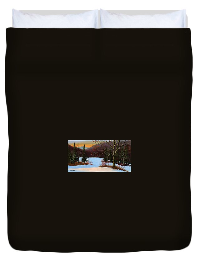 Winter Duvet Cover featuring the painting Last Light Of Day by Frank Wilson