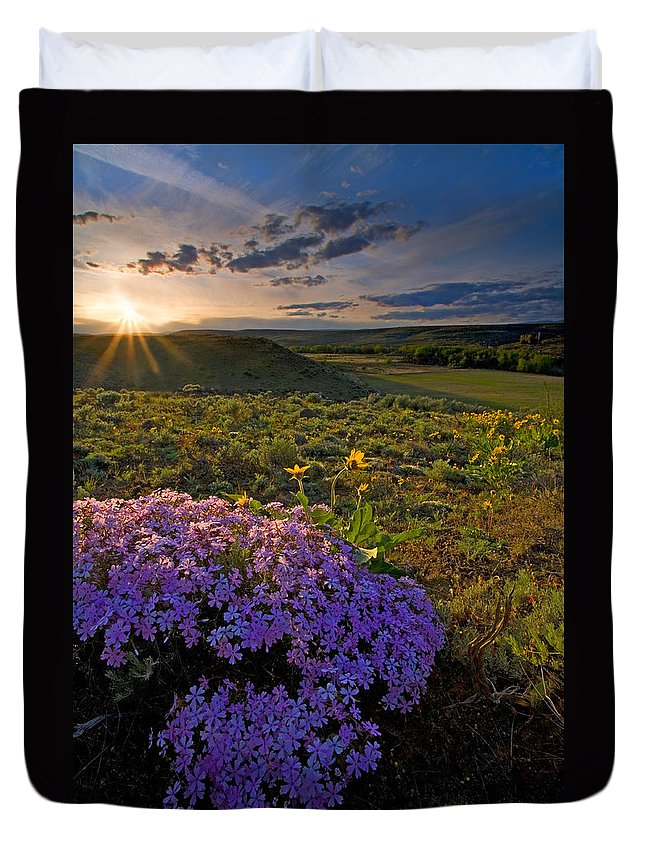 Wildflowers Duvet Cover featuring the photograph Last Light Of Spring by Mike Dawson