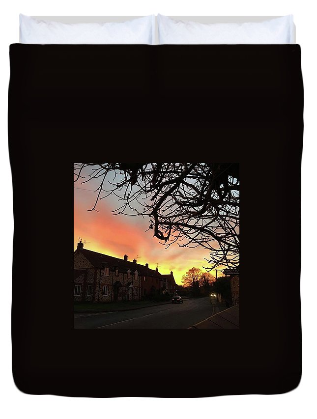 Natureonly Duvet Cover featuring the photograph Last Night's Sunset From Our Cottage by John Edwards