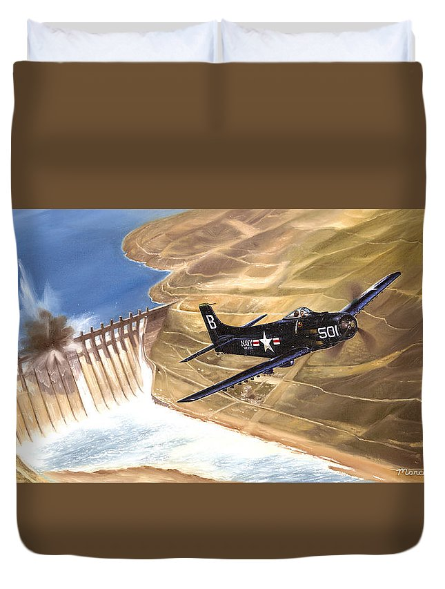 Military Duvet Cover featuring the painting Last Of The Dambusters by Marc Stewart